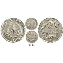 Bogota, Colombia, 1/2 real, 1840RS. Restrepo-177.3; KM-96.1; KM-96.1. 1.4 grams. Lustrous AU, no ton