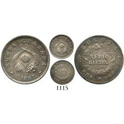 Bogota, Colombia, 1/2 decimo, 1857. Restrepo-181.10; KM-114. 1.2 grams. Richly toned AU- (scarce gra