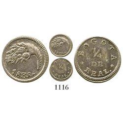 Bogota, Colombia, 1/4 real, 1838. Restrepo-172.3; KM-90.1. 0.7 gram. Attractively toned AU (rare gra