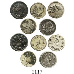 Lot of 5 Colombian 1/4R (Bogota: 1844, 1847; Popayan: 1849, 1850, 1855). Restrepo-172 and 175; KM-90