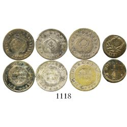 Lot of 4 Colombian small silver coins (Bogota: 1/2D 1858/6, 1860; Popayan: 1/2R 1862; 1/4R 1862).  3