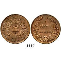 Colombia (struck in London), copper 1 decimo de real, 1847. Restrepo-171.1; KM-102. 9.9 grams. Mint