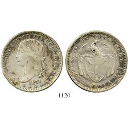 Bogota, Colombia, 1 peso, 1871. Restrepo-317.2; KM-154.1. 24.9 grams. AXF with a modicum of luster,