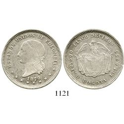 Bogota, Colombia, 5 decimos, 1870. Restrepo-293.3; KM-153.1. 12.4 grams. VF+ (rare grade for this ty