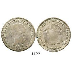 Popayan, Colombia, 5 decimos, 1873/69, ex-Dana Roberts collection, rare. Restrepo-295.4; KM-153.6. 1