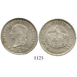 """Bogota, Colombia, 50 centavos, 1874, denomination as """"50."""" Restrepo-307.1; KM-172.2. 12.4 grams. Cho"""