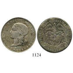Medellin, Colombia, 5 decimos, 1886, fineness 0,500/0,835, 4 stars in legend (rare), encapsulated AN