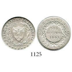 Bogota, Colombia, 2 decimos, 1867, 5-pointed stars, encapsulated ANACS EF 45. Restrepo-279.2; KM-149