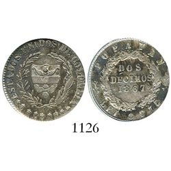 Popayan, Colombia, 2 decimos, 1867, fineness 0,835/0,900, encapsulated ANACS VF 35, ex-Dana Roberts