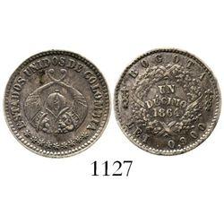 Bogota, Colombia, 1 decimo, 1864. Restrepo-266.2; KM-145.1. 2.5 grams. Nice XF (rare grade) with mut