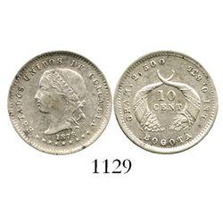Bogota, Colombia, 10 centavos, 1878. Restrepo-273.3; KM-175.1. 2.5 grams. Lustrous AU/UNC, no toning