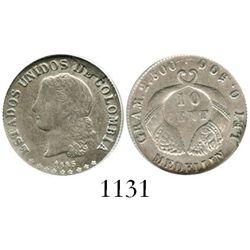 Medellin, Colombia, 10 centavos, 1885, fineness 0,500/0,835, encapsulated ANACS EF 40, ex-Dana Rober