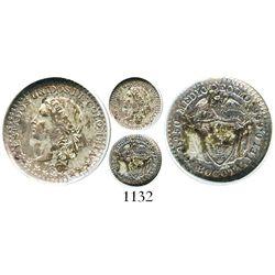 Bogota, Colombia, 1/2 decimo, 1871, encapsulated ANACS AU 50. Restrepo-256.4; KM-150.1.  Fully Mint