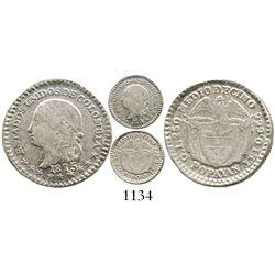 Popayan, Colombia, 1/2 decimo, 1875, fineness 0,666. Restrepo-258.9; KM-150.3. 1.1 grams. AU with ty