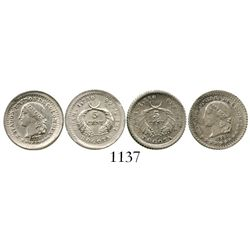 Lot of 2 Bogota, Colombia, 5 centavos, 1878 and 1883. Restrepo-263; KM-174a.1. 2.5 grams total. Lust