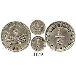 Medellin, Colombia, 1/4 decimo, 1874. Restrepo-247.1; KM-143.3. 0.6 gram. Well-struck AU with lustro