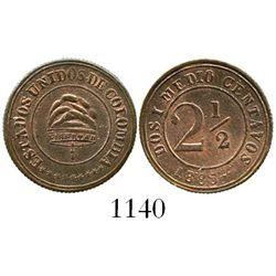 Bogota, Colombia, copper 2-1/2 centavos, 1885. Restrepo-252.1; KM-181. 2.1 grams. AU (rare grade) wi