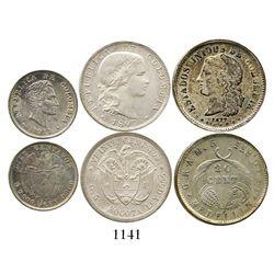Lot of 3 Colombian silver minors: Medellin, 20 centavos, 1877; Bogota, 20 centavos, 1897; and Bogota