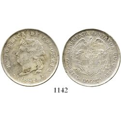 """Bogota, Colombia, 50 centavos, 1887, """"Cocobola,"""" 2/2 in weight. Restrepo-405.1a; KM-185. 12.3 grams."""