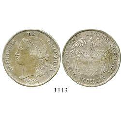 Medellin, Colombia, 5 decimos, 1888,  mulata,  rare. Restrepo-403.1; KM-166. 12.3 grams. Lustrous AU