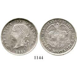 Bogota, Colombia, 50 centavos, 1889, ball-point 9. Restrrepo-407.1; KM-186.1a. 12.4 grams. Choice, l