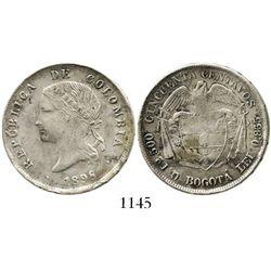 Bogota, Colombia, 50 centavos, 1898, crossed 8, rare. Restrrepo-407.4; KM-186.1a. 12.5 grams. AXF wi