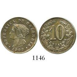 Colombia (struck in Belgium), copper-nickel 10 centavos pattern (designer Michaux), 1900. Restrepo-p
