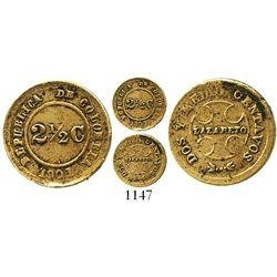 Bogota, Colombia (Lazareto), brass 2-1/2 centavos, 1901, extremely rare. Restrepo-360.1; KM-L1. 1.2