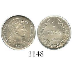 Bogota, Colombia, copper-nickel 1 peso papel moneda (1 centavo), 1913-AM, encapsulated ANACS MS 64.