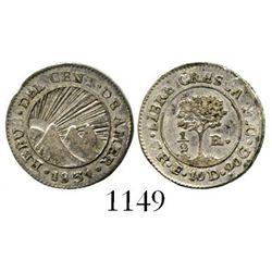 Costa Rica, Central American Republic, 1/2 real, 1831E, NO countermark. KM-20. 1.5 grams. XF with lu