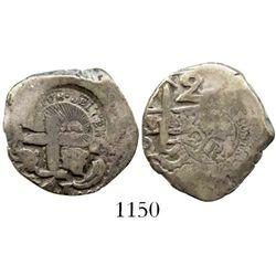 Costa Rica, Central America Republic, 2 reales, 1846JB, Type V counterstamp on a Potosi, Bolivia, co