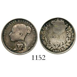"""Costa Rica, 1 real, Type VI """"lion"""" countermark (1849-57) on a Great Britain Victorian sixpence of 18"""