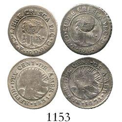 "Lot of 2 Costa Rica 1/2R, Type VI ""lion"" countermarks (1849-57) on Central American Republic 1/2R 18"