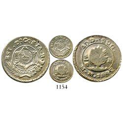"""Costa Rica, 1/2 real, Type VI """"lion"""" countermark (1849-57) on Carrillo 1/2 real 1842MM, rare combina"""
