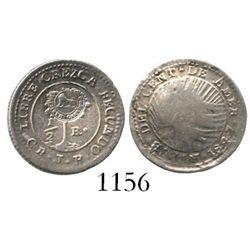 "Costa Rica, 1/2 real, Type VI ""lion"" countermark (1849-57) on Central American Republic 1/2R 1847JB,"