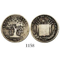 Costa Rica, 1/4 peso, 1853JB, rare. KM-103. 5.9 grams. Toned Fine with flat shield, weak rims, old s