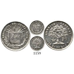 Costa Rica, 1/16 peso, 1855/0. KM-101. 1.5 grams. Bold and highly lustrous Mint State (choice grade