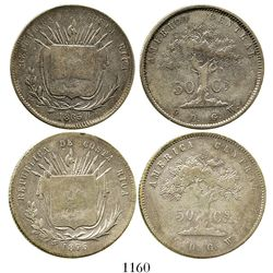 Lot of 2 Costa Rica 50 centavos, 1865GW and 1875GW. KM-112. 24.9 grams total. First and last dates o