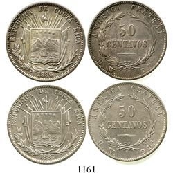Lot of 2 Costa Rica 50 centavos, 1886GW and 1887GW. KM-124. 25.1 grams total. Both nice XF, the 1886