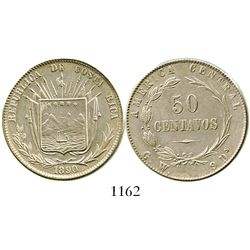 Costa Rica, 50 centavos, 1890GW. KM-124. 12.7 grams. Lightly cleaned UNC that is starting to retone,
