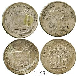 """Lot of 2 Costa Rica 25 centavos, 1865GW, one missing the """"s"""" in the fineness. KM-106. 12.3 grams tot"""