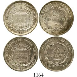 Lot of 2 Costa Rica 25 centavos, 1886GW, one with 9Ds-GW and the other with GW-9Ds. KM-127.1 and 127