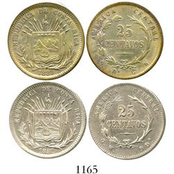 Lot of 2 Costa Rica 25 centavos, 1887GW, one with 9Ds-GW and the other with GW-9Ds. KM-127.1 and 127