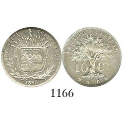 Costa Rica, 10 centavos, 1865GW, encapsulated ANACS cleaned / AU 55 details. KM-111.  Slightly crude