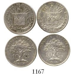 Lot of 2 Costa Rica 10 centavos, 1865GW, different dies. KM-111. 4.9 grams total. Lightly toned VF-X