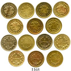 Lot of 7 Costa Rica brass 5 centavos/centimos, various dates (1917, 1919, 1920, 1922, 1936, 1940 and