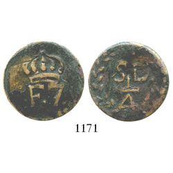 Santo Domingo, Dominican Republic (under Spain), copper 1/4 real, Ferdinand VII. KM-2. 6.5 grams. Cr