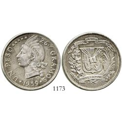 Dominican Republic, 1 peso, 1939. KM-22. 26.6 grams. Problem-free XF, lightly toned, faint luster.