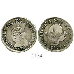 "Quito, Ecuador, ""MDQ"" countermark (1831) on a Bogota, Colombia (Cundinamarca), 2 reales, 1821JF. Res"