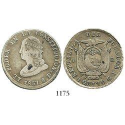 Quito, Ecuador, 4 reales, 1857GJ. KM-37. 12.3 grams. Decent VF with crude rims (as made), small void